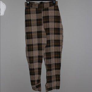 plaid paper bag pants